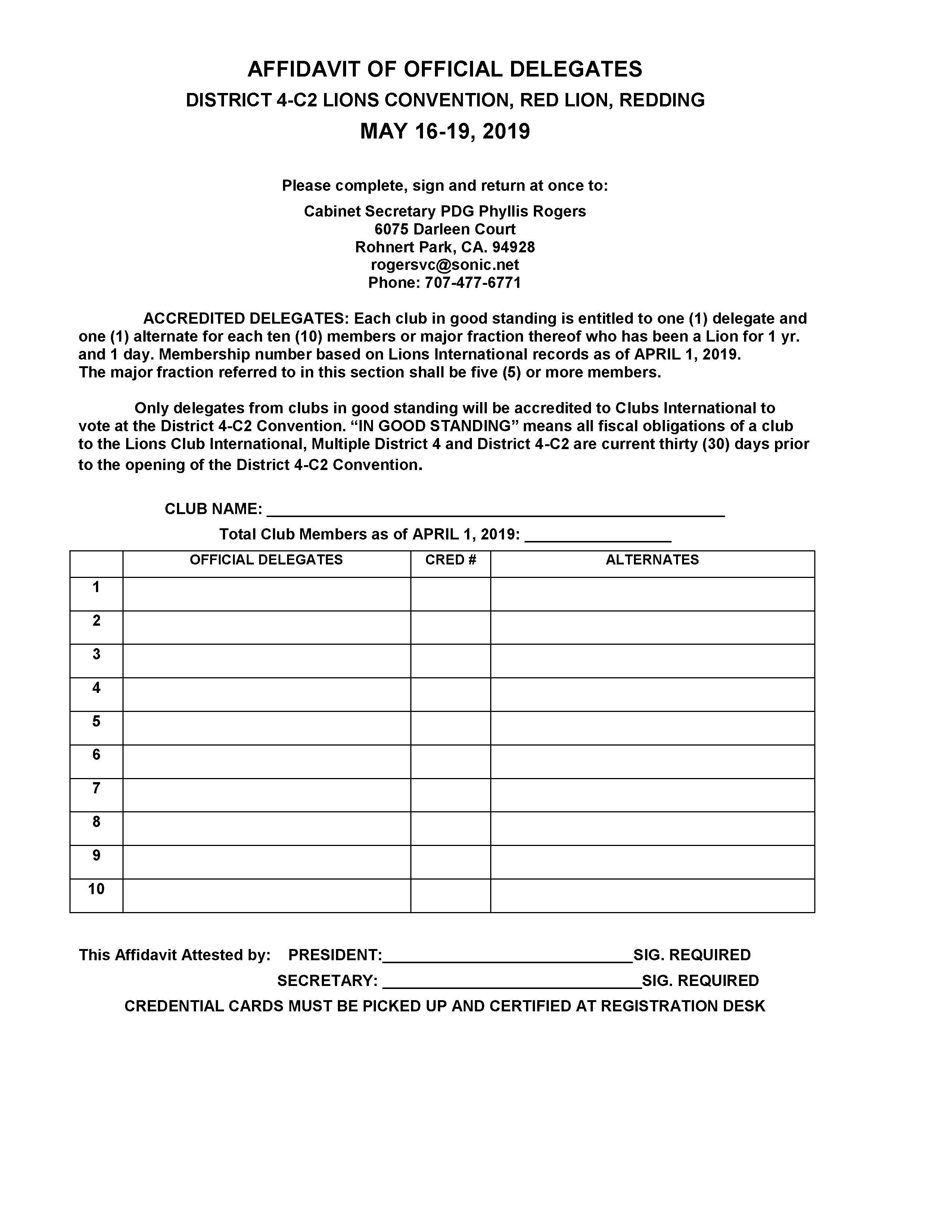 delegate form 2019